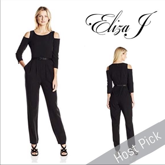 44c0df70272 Eliza J Pants -  Eliza J  Black Cold Shoulder Jumpsuit